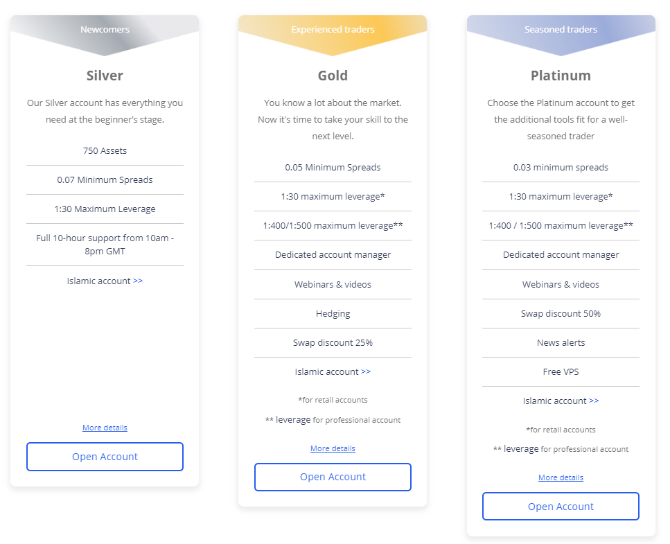 ETFinance account types